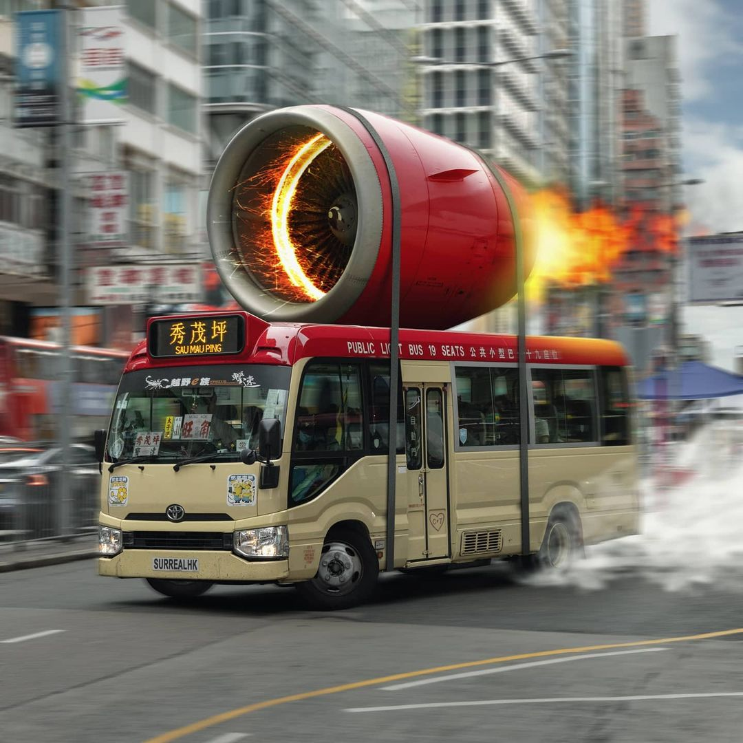 surrealhk Tommy Fung Photoshop 改圖 攝影 個展 小巴 紅Van