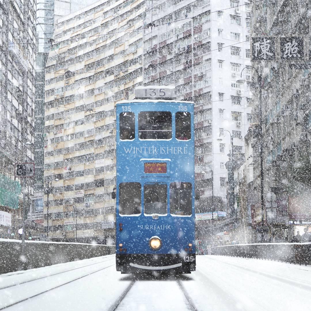 surrealhk Tommy Fung Photoshop 改圖 攝影 個展 冰天雪地 電車