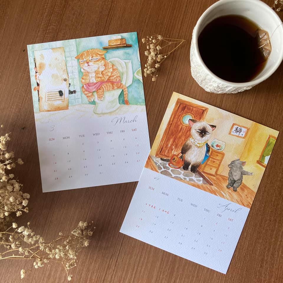 台灣 插畫師 前動畫師 Ingrid 英格藍貓 水彩 療癒 媽媽崩潰的日常 桌曆 明信片