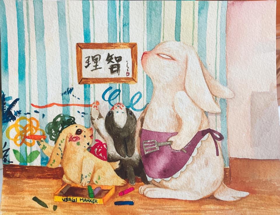 台灣 插畫師 前動畫師 Ingrid 英格藍貓 水彩 療癒 媽媽崩潰的日常 兔媽媽 兔子