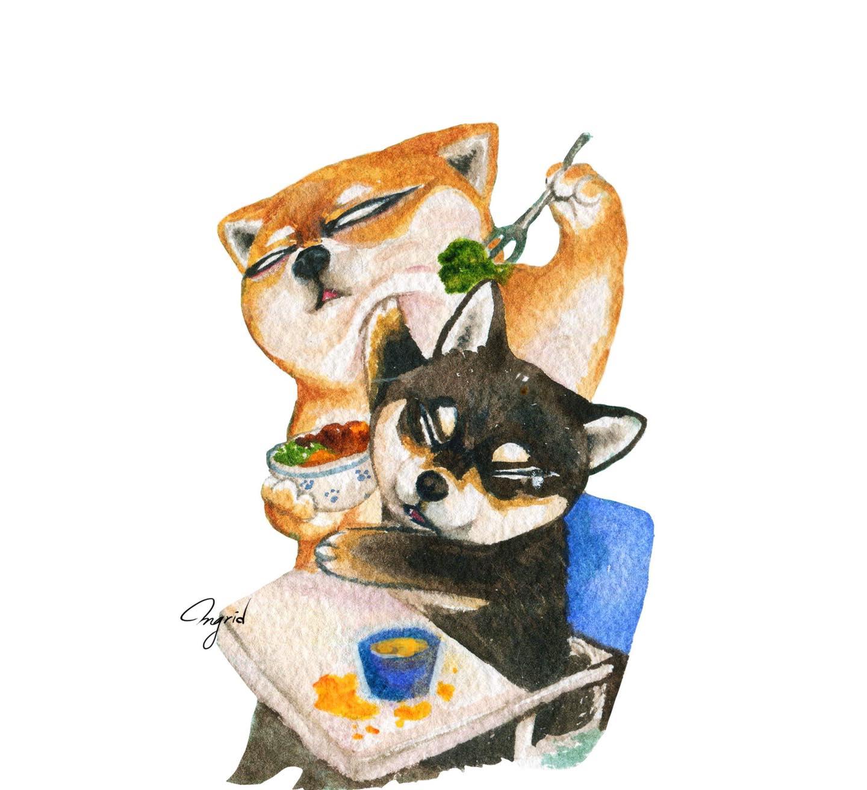台灣 插畫師 前動畫師 Ingrid 英格藍貓 水彩 療癒 媽媽崩潰的日常 柴犬 餵食