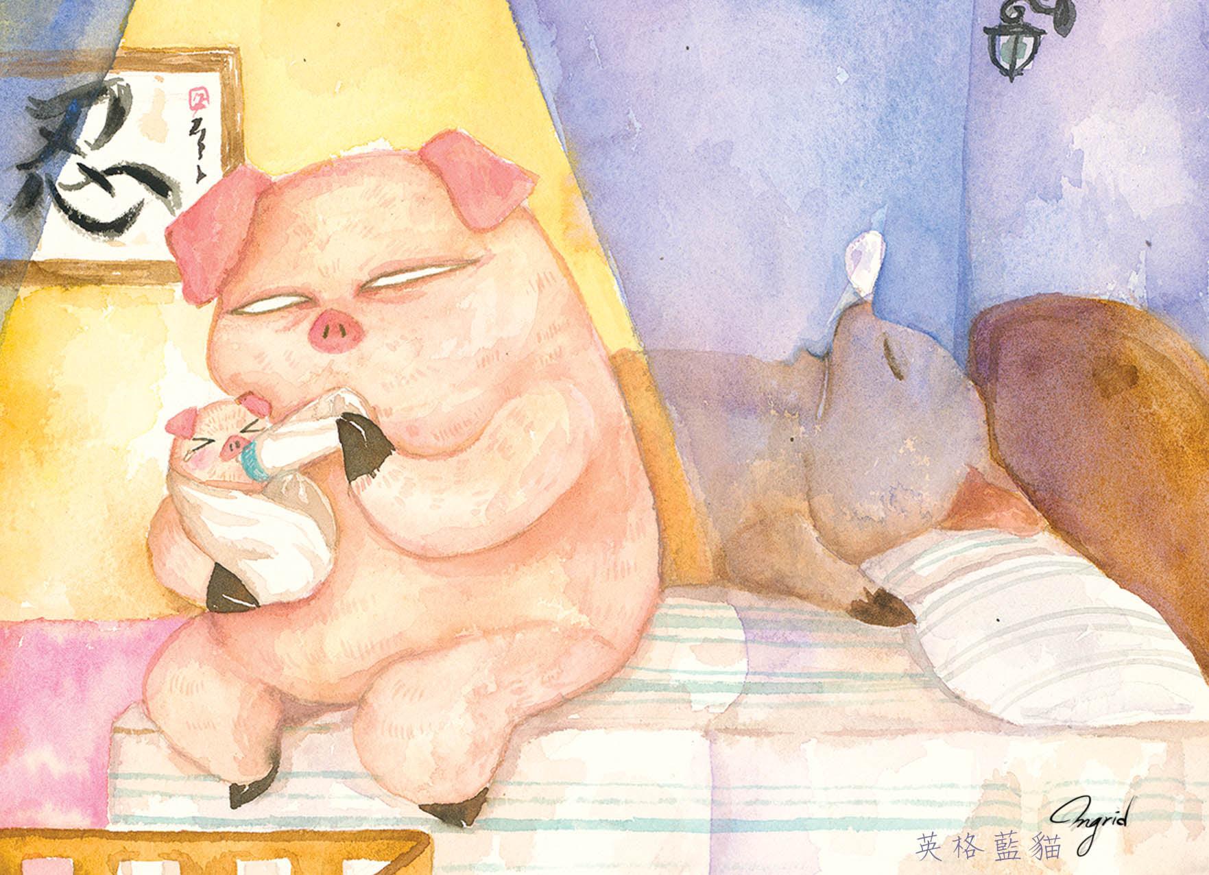台灣 插畫師 前動畫師 Ingrid 英格藍貓 水彩 療癒 媽媽崩潰的日常 豬 餵奶