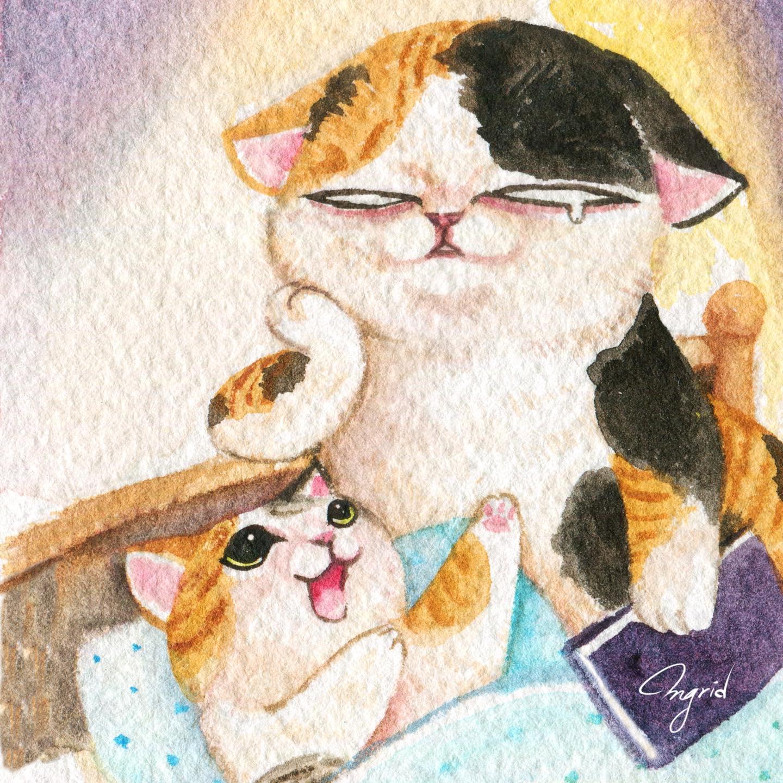 台灣 插畫師 前動畫師 Ingrid 英格藍貓 水彩 療癒 媽媽崩潰的日常 貓媽媽 貓