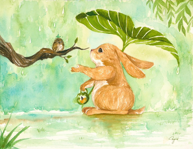 台灣 插畫師 前動畫師 Ingrid 英格藍貓 水彩 療癒 兔子 森林系
