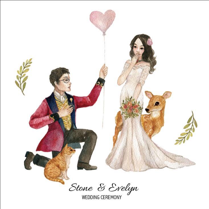 台灣 插畫師 前動畫師 Ingrid 英格藍貓 水彩 療癒 動物 婚禮客製化作品 結婚