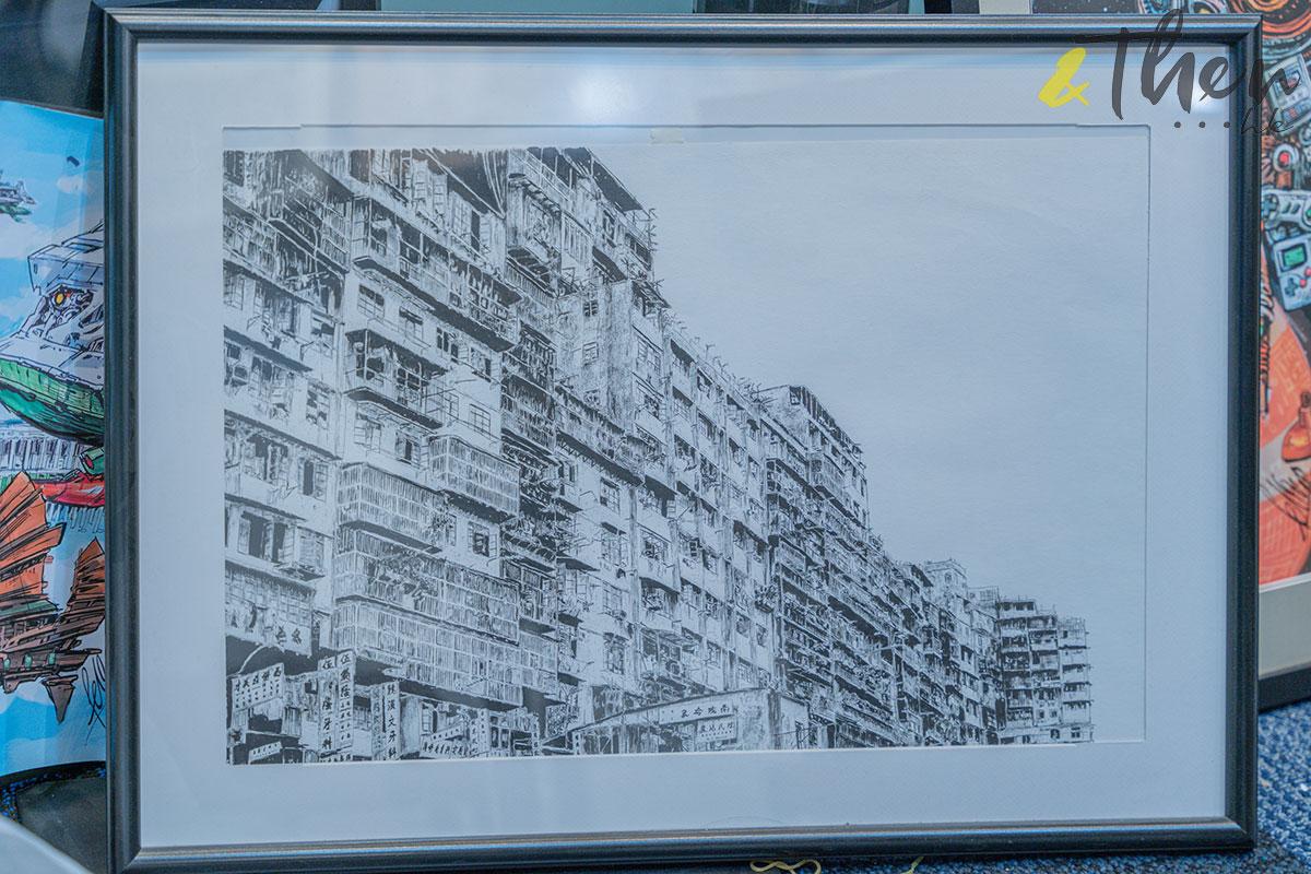 香港藝術 插畫家 Pen So 黑白漫畫 災難之後 九龍城寨 本土文化 畫作 建築群